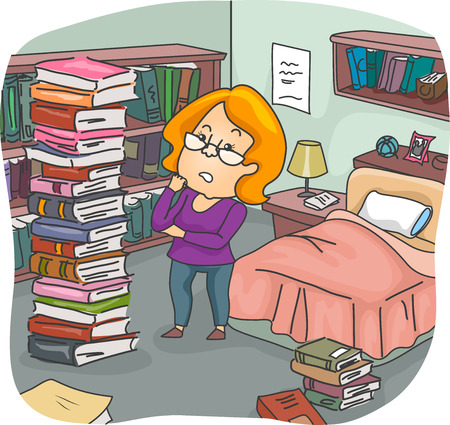 peoples: Illustration of a Girl Assessing the Pile of Books in Her Bedroom