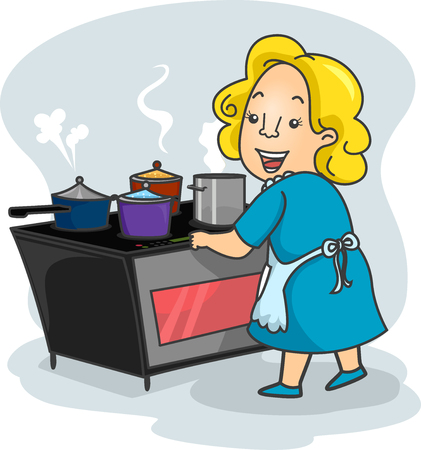 Illustration of a Mother Using an Induction Stove to Cook