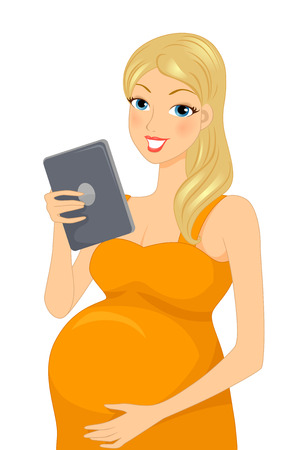 woman tablet: Illustration of a Pregnant Woman Reading Something on Her Tablet