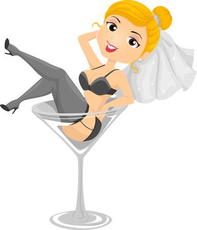 despedida de soltera: Ilustración de una joven vestida como una novia acostado en una copa de vino de gran tamaño