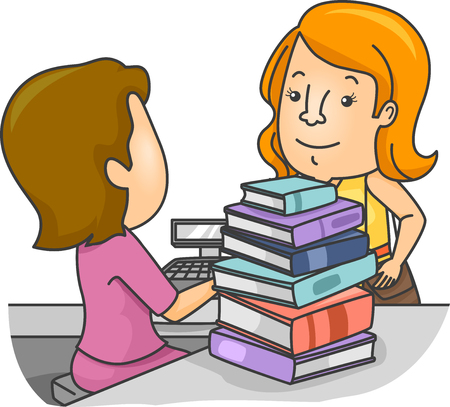 chose: Illustration of a Girl Presenting the Books She Chose at the Counter