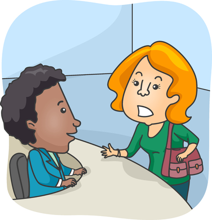 complain: Illustration of a Customer Reporting an Issue at the Complaints Desk Stock Photo