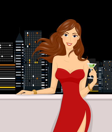 Illustration of a Girl Having a Drink on the Rooftop of a Building Stock Photo