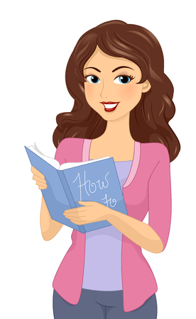 instructional: Illustration of a Girl Reading an Instructional Book