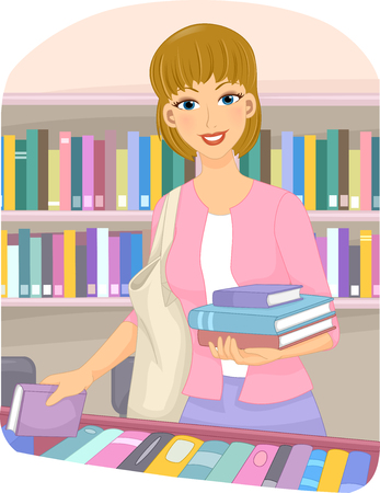 choosing: Illustration of a Girl Choosing Books at a Book Store