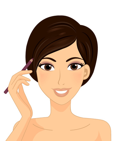 highlight: Illustration of a Girl Using an Eye Pencil to Highlight Her Eyes