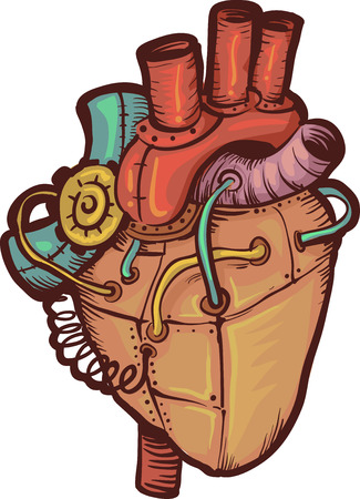 heart clipart: Steampunk Illustration of a Heart Made of Metals