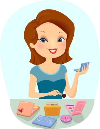 makeup brush: Illustration of a Girl Experimenting with Make Up
