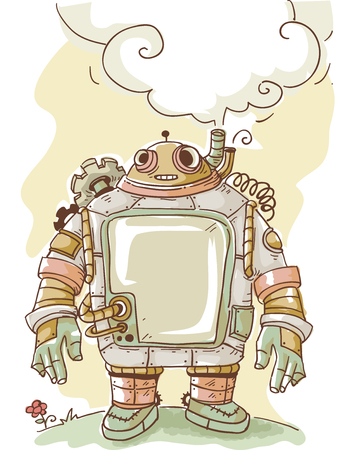 apocalyptic: Steampunk Illustration of a Thinking Robot with a Thought Balloon Hovering Over It