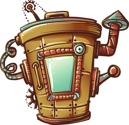 apocalyptic: Steampunk Illustration of a Trash Bin Designed with Mechanical Gears Stock Photo