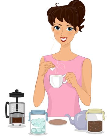 brewed: Illustration of a Girl Preparing Brewed Coffee