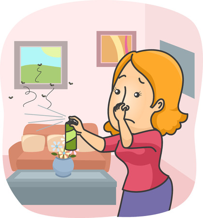 mosquitoes: Illustration of a Woman Spraying Insecticide All Over Her Home