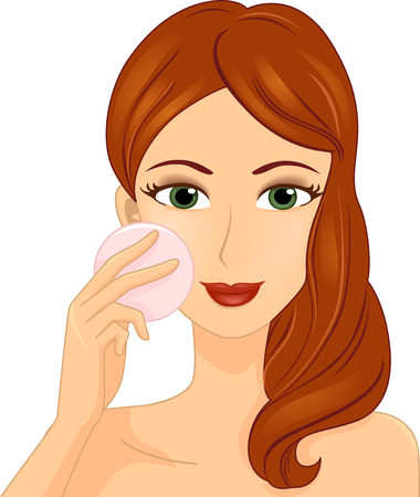 beauty make up: Illustration of a Girl Applying Pressed Powder on Her Cheeks Stock Photo
