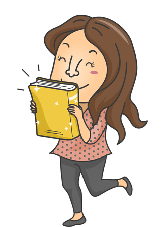 release: Illustration of a Female Book Lover Excited Over the Release of a New Book Stock Photo