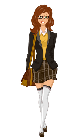 Illustration of a Fashionable Girl Dressed in Preppy Clothes