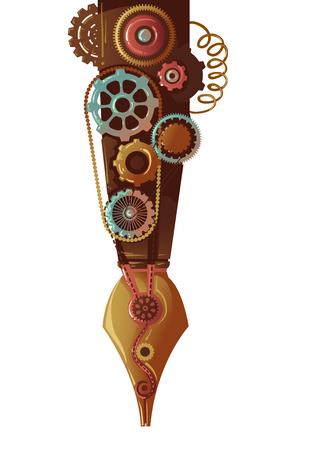 Steampunk Illustration of a Fountain Pen Designed with Gears Archivio Fotografico