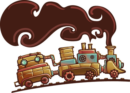 thick: Steampunk Illustration of a Locomotive Train Spouting Thick Brown Smoke