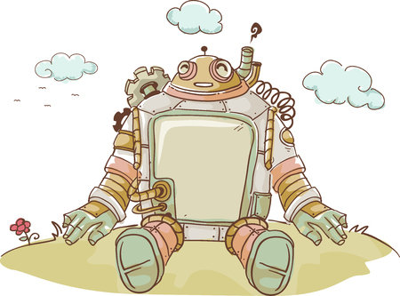 hill top: Steampunk Illustration of a Happy Robot Sitting on the Top of a Hill