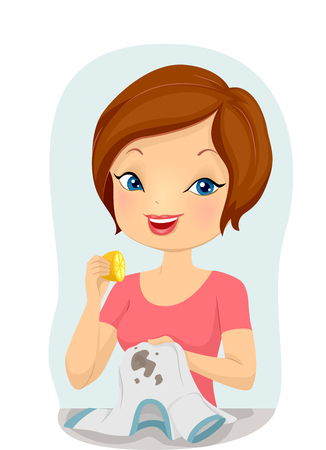 soiled: Illustration of a Girl Trying to Remove a T-shirt Stain with a Lemon