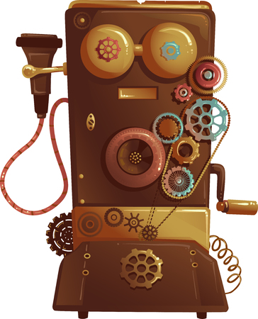 vintage phone: Steampunk Illustration of a Vintage Phone Designed with Cogs and Gears Stock Photo