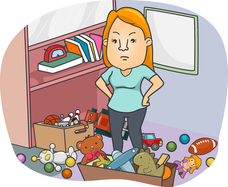 彼女の周りに散在おもちゃで腹が立つ女の子のイラスト 写真素材