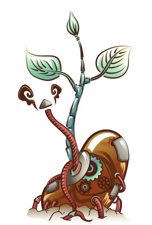 cables: Steampunk Illustration of a Seedling Sprouting Metal Cables