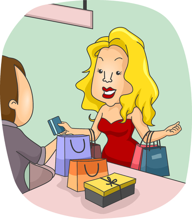 paying: Illustration of a Girl Paying at the Counter with a Credit Card