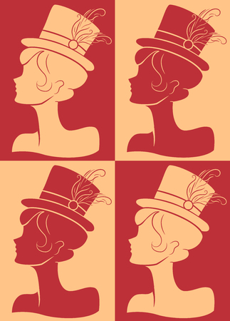 performer: Illustration Featuring the Silhouettes of a Burlesque Performer Wearing a Fancy Hat
