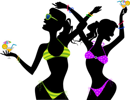 clubbing: Illustration of the Silhouette of Girls in Bikini Drinking Cocktails
