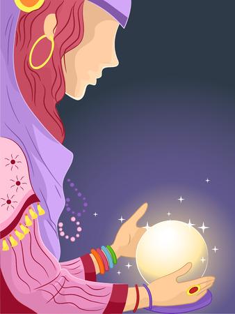 gitana: Ilustración de una niña en un traje de gitana En cuanto a una bola de cristal