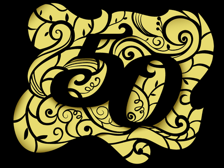 50 number: Illustration of a Paper Cutout Featuring the Number 50