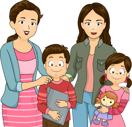 socialize: Illustration of Moms Letting Their Kids Socialize Stock Photo