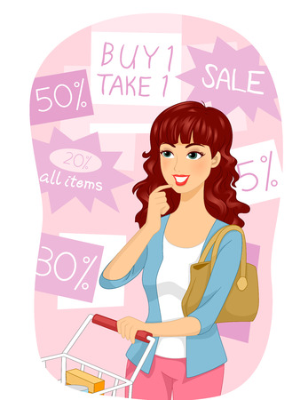 discounted: Illustration of a Girl Choosing Among the Discounted Items in a Grocery