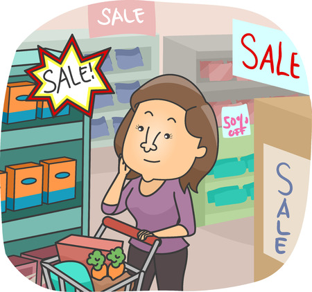 choosing: Illustration of a Girl Choosing Among the Items on Sale in a Grocery