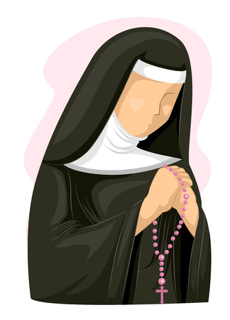 różaniec: Ilustracja Nuna Ściskając podczas modlitwy różańcowej