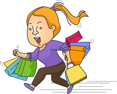 Illustration of a Girl Carrying Shopping Bags Running Frantically