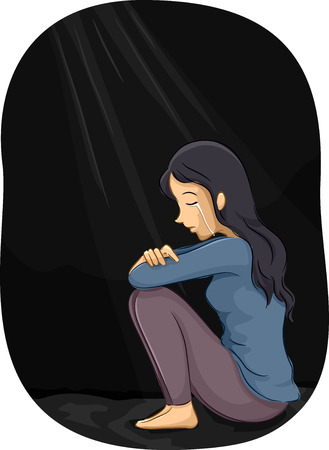 depression: Illustration of a Depressed Girl Crying in a Corner Stock Photo