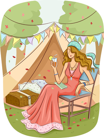 glam: Illustration of a Girl in a Bohemian Dress Relaxing at a Glam Camp Stock Photo