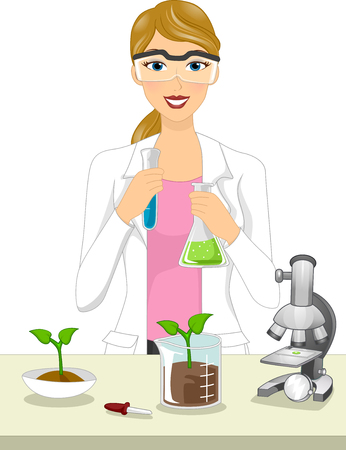 Chemical: Illustration of a Female Agricultural Scientist Conducting an Experiment