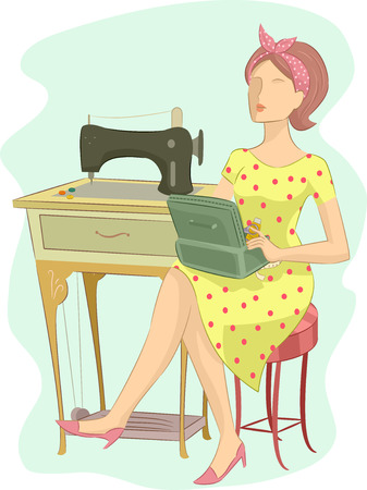 beside: Illustration of a Girl in a Retro Outfit Sitting Beside a Vintage Sewing Machine