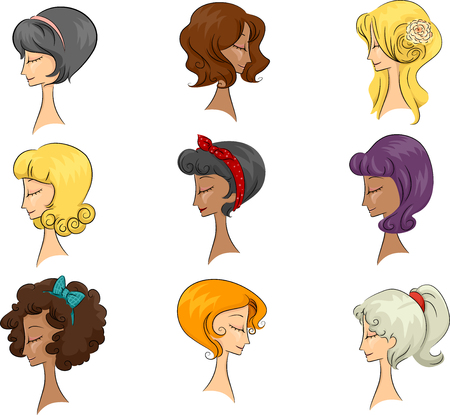 bleached: Illustration of a Group of Women Sporting Different 50s Hair Styles Stock Photo