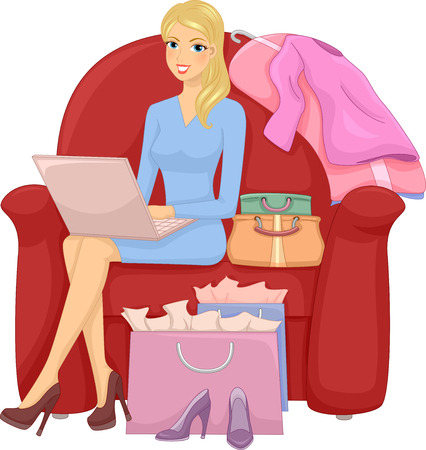 browsing: Illustration of a Girl Browsing the Internet for Shopping Deals Stock Photo