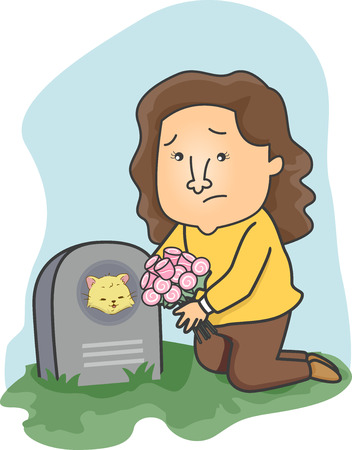 grieving: Illustration of a Girl Leaving Flowers on Her Cats Grave Stock Photo