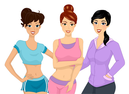 physical fitness: Illustration of a Group of Girls in Work Out Clothes