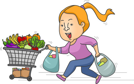 cart: Illustration of a Girl Running While Pushing a Grocery Cart Stock Photo