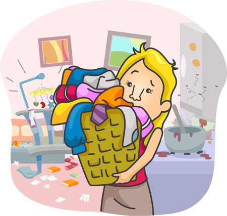 disorganized: Illustration of an Overworked Girl Swamped with House Chores Stock Photo