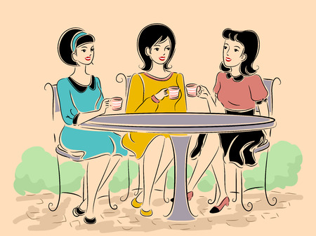 outdoor dining: Illustration of a Group of Girls in Retro Clothing Having Tea at an Outdoor Cafe