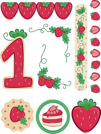 Illustration of a Strawberry Themed First Birthday Party Elements