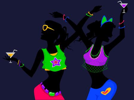 ragazze che ballano: Illustrazione di ragazze che ballano ad una Glow in the dark partito