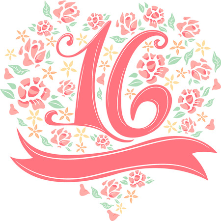 number 16: Illustration of the Number 16 Decorated with Flowers and Ribbons